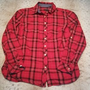 Talbots Womens Cut Red and Black Flannel Size XS